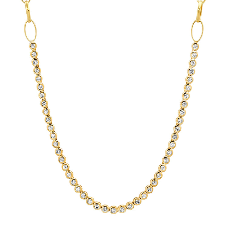 1/3 Diamond Mini Bezel Tennis on Medium Edith Link Chain
