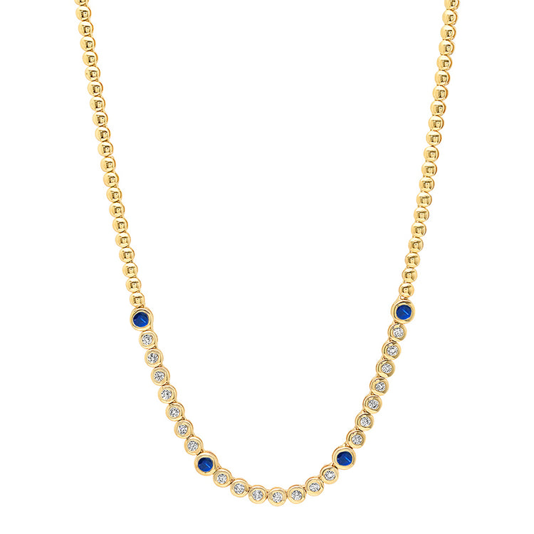 1/3 Diamond Mini Bezel Tennis Necklace with Large Blue Sapphire Accents