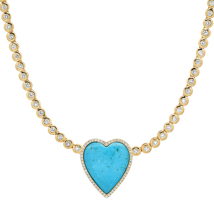 1/3 Diamond Mini Bezel Tennis Necklace with Turquoise and Diamond Heart
