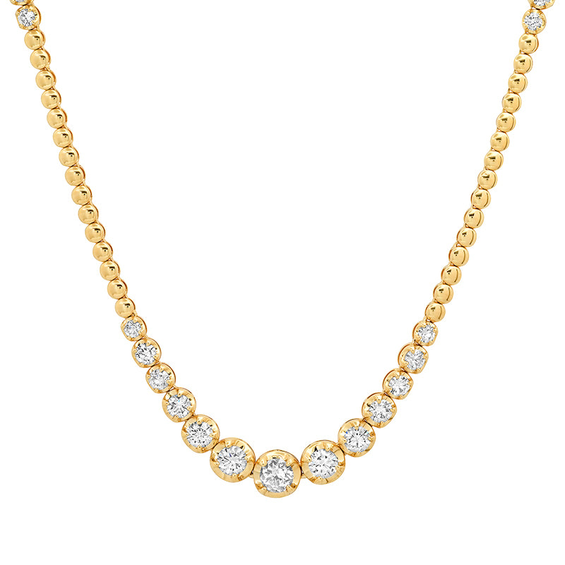 "28"" Mini Bezel Necklace with Graduated Diamond Accents"
