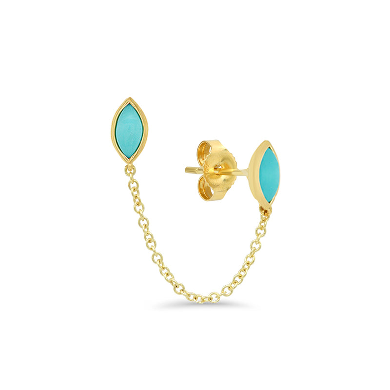 Double Turquoise Marquise Stud