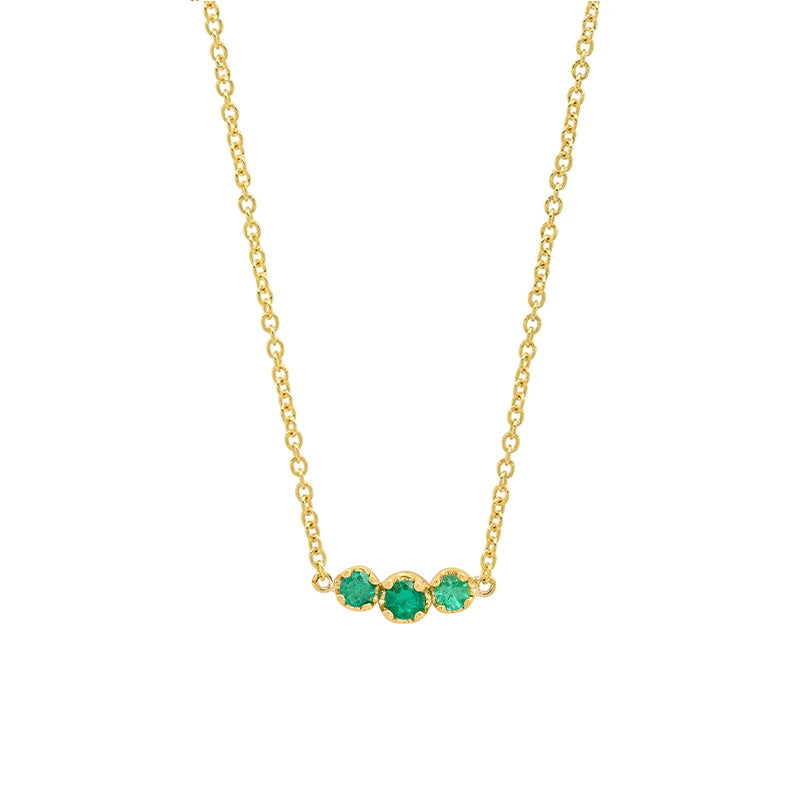 3 Illusion-Set Emerald Necklace
