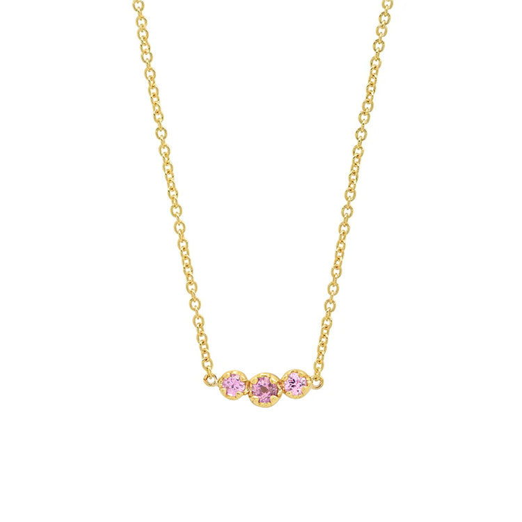 3 Illusion-Set Pink Sapphire Necklace