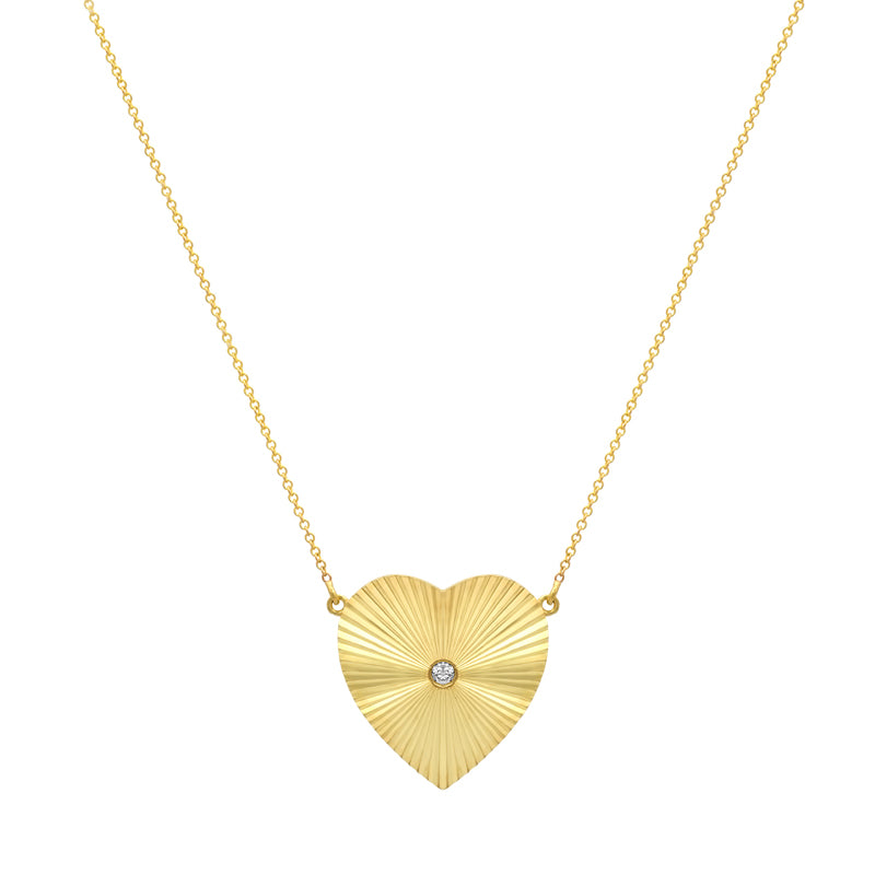Large 70's Heart Necklace with Diamond Accent