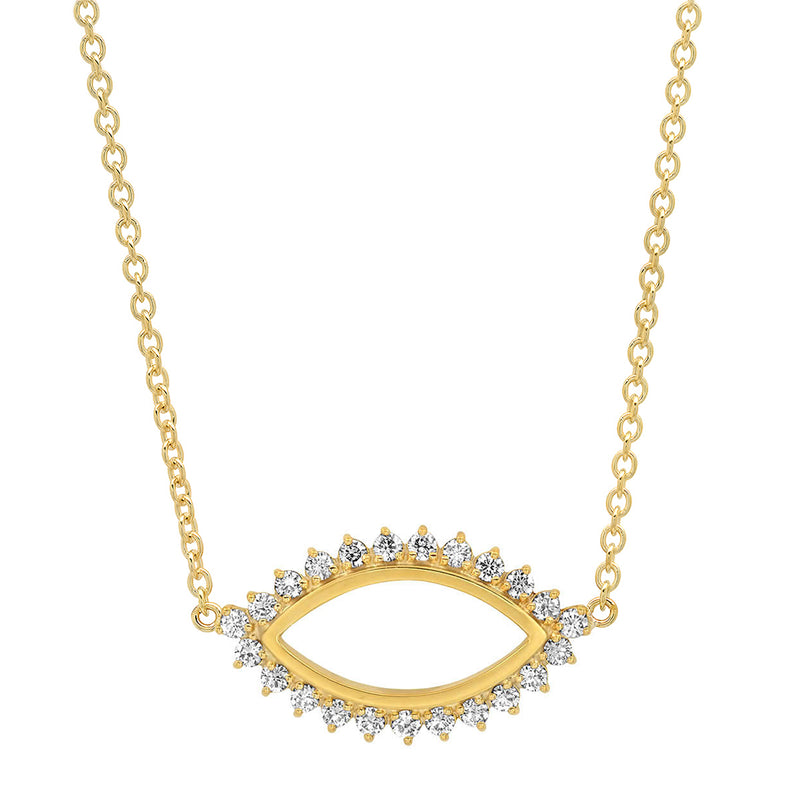 Diamond 3 Prong Open Evil Eye Necklace