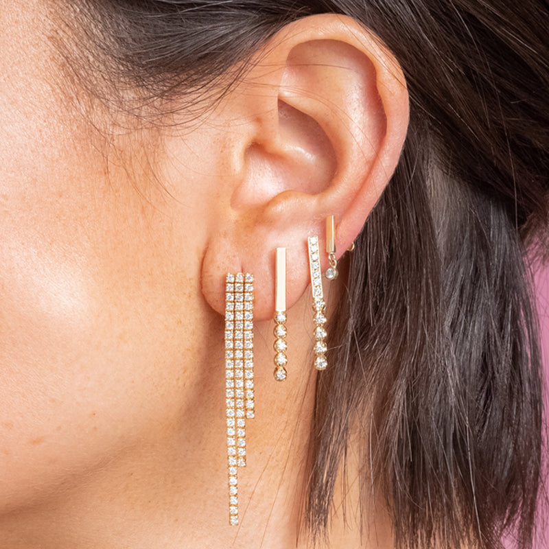 Cascading 4-Prong Diamond Tennis Studs