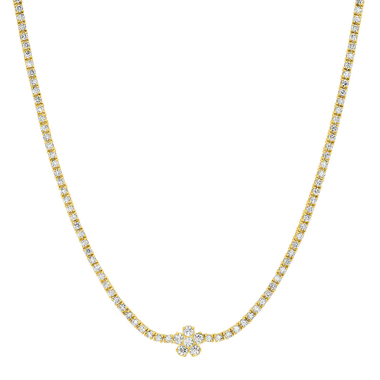 4-Prong Diamond Tennis Necklace with Large Flower Accent