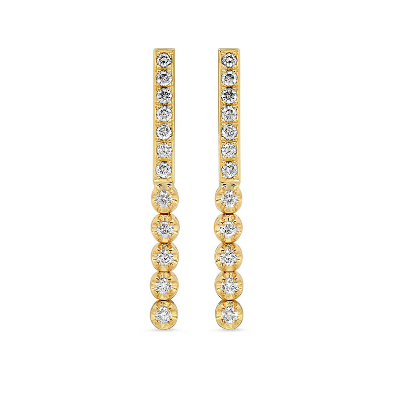 Diamond Bar Studs with 5 Illusion-Set Diamonds