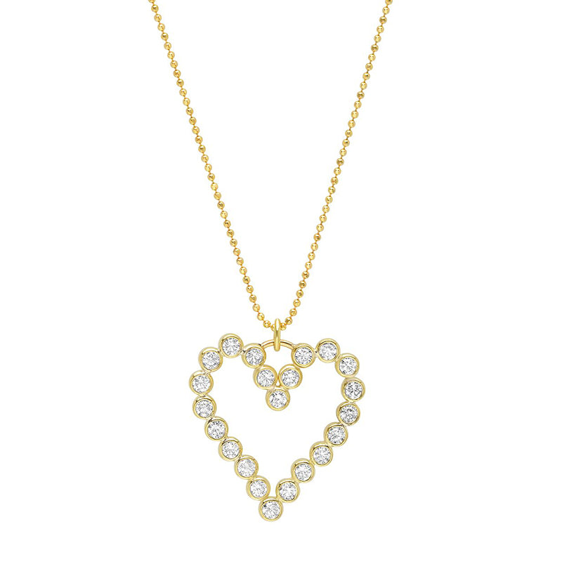 Large Diamond Bezel Open Heart Necklace