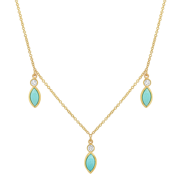 3 Diamond Bezel with Turquoise Marquise Dangle Necklace