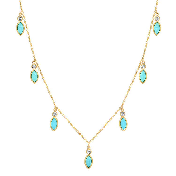 7 Diamond Bezel with Turquoise Marquise Dangle Necklace