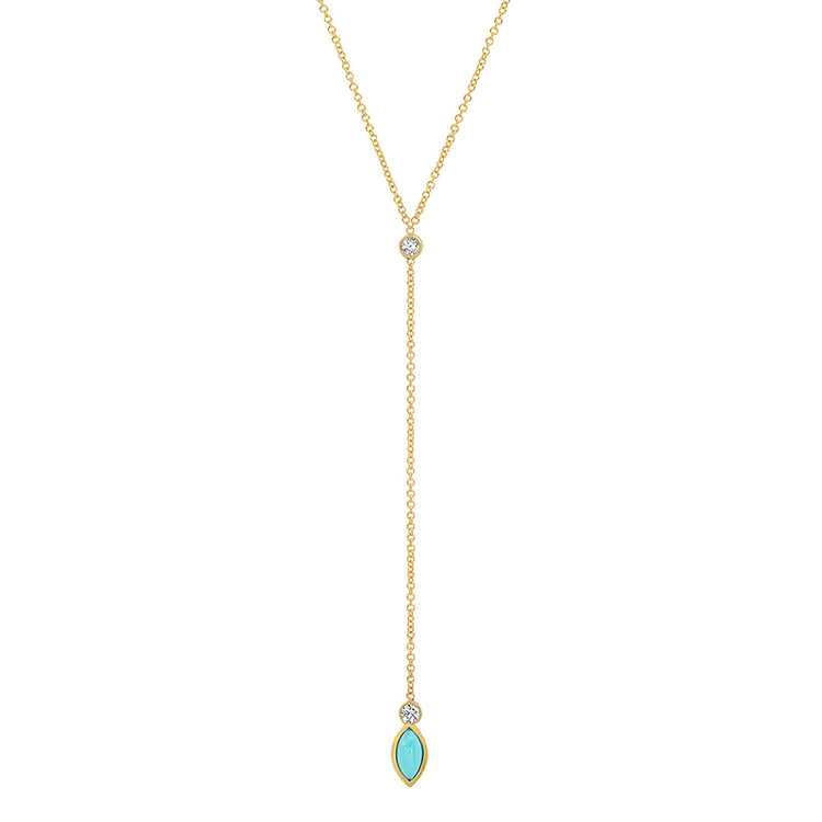 Diamond Bezel with Turquoise Marquise Lariat Necklace