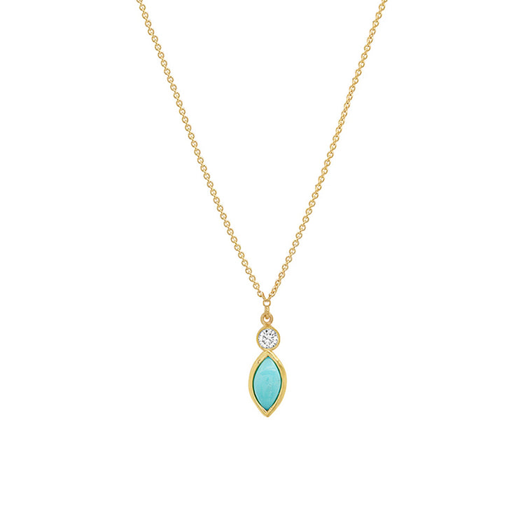 Diamond Bezel with Turquoise Marquise Necklace