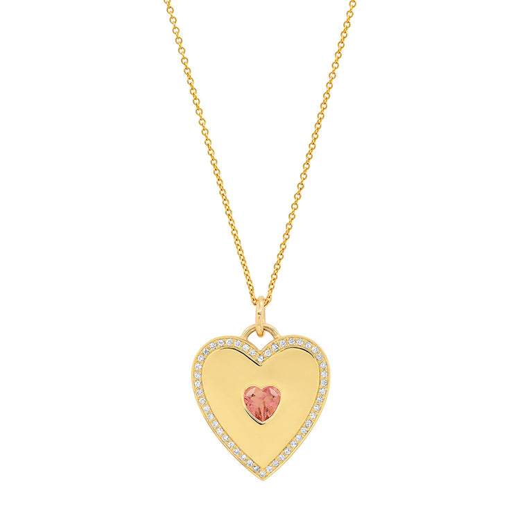 Heart Pendant Necklace with Pink Tourmaline Center and Diamonds