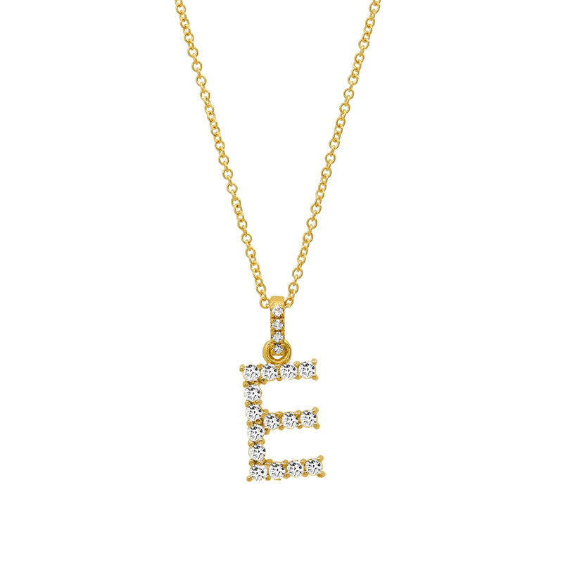Diamond Letter Necklace - E