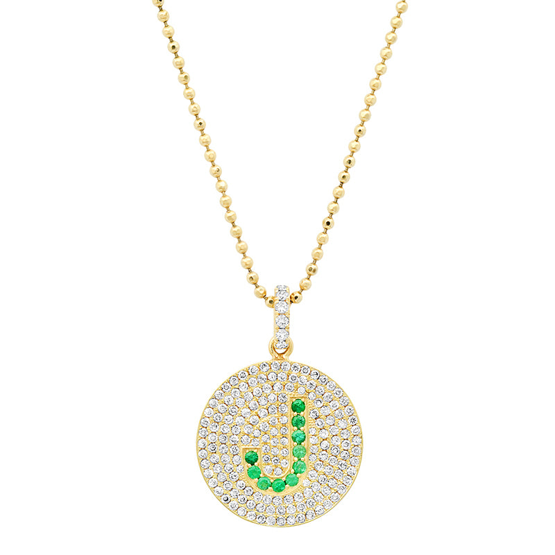 Diamond Disc with Emerald Letter Necklace