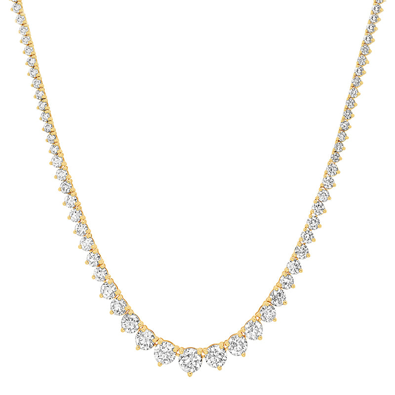 Large Graduated 3-Prong Diamond Tennis Necklace