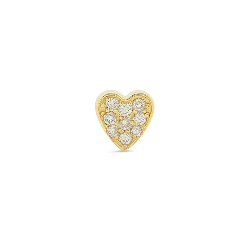Half Pair Yellow Gold Diamond Heart Studs