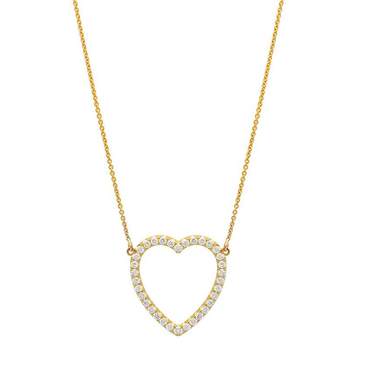 Large Diamond Open Heart Necklace