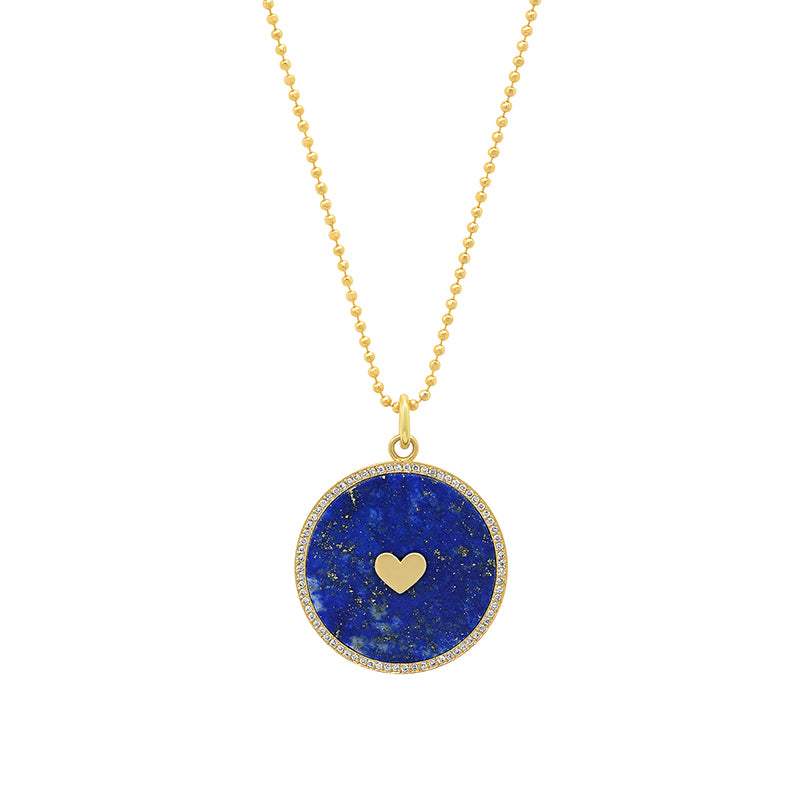 Lapis Inlay Circle Pendant with Diamonds and Heart Detail