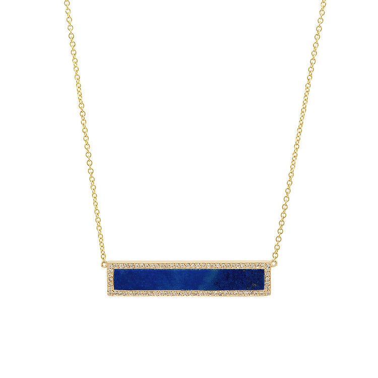 Lapis Inlay Bar Necklace with Diamonds