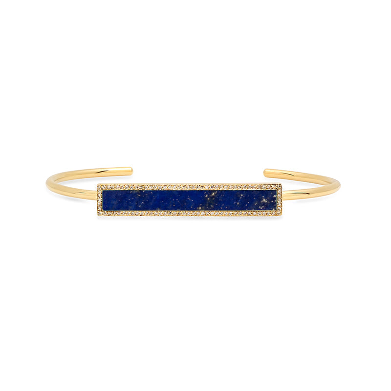 Lapis Inlay Bar Cuff with Diamonds