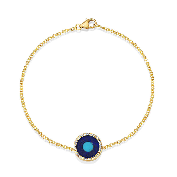 Mini Lapis Inlay Evil Eye Bracelet with Diamonds