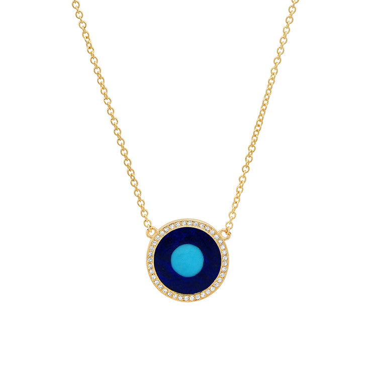 Mini Lapis Inlay Evil Eye Necklace with Diamonds