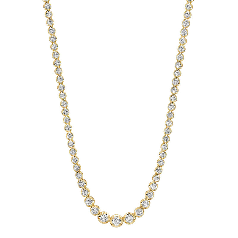 Large Graduated Diamond Tennis Necklace