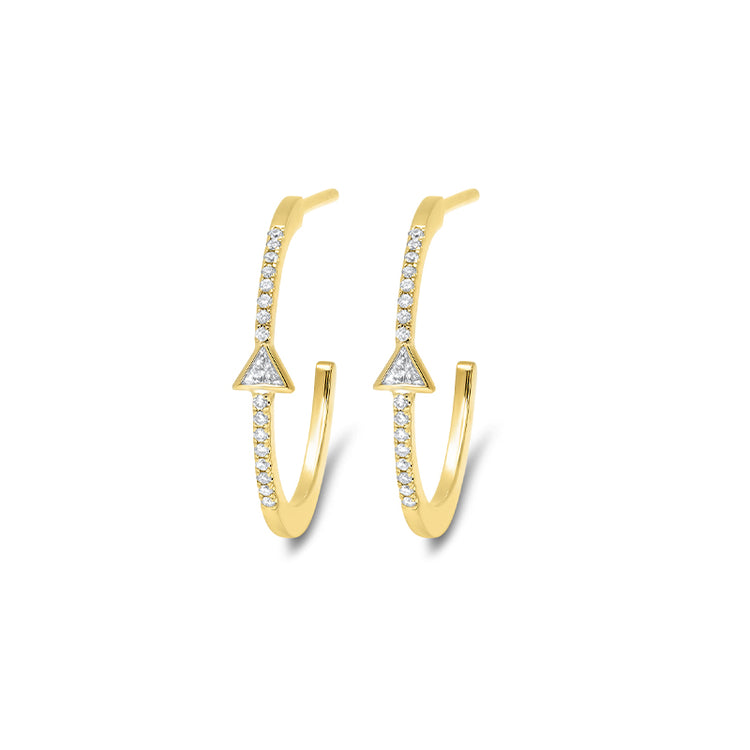 Trillion-Cut Diamond Hoops with Diamond Pavé