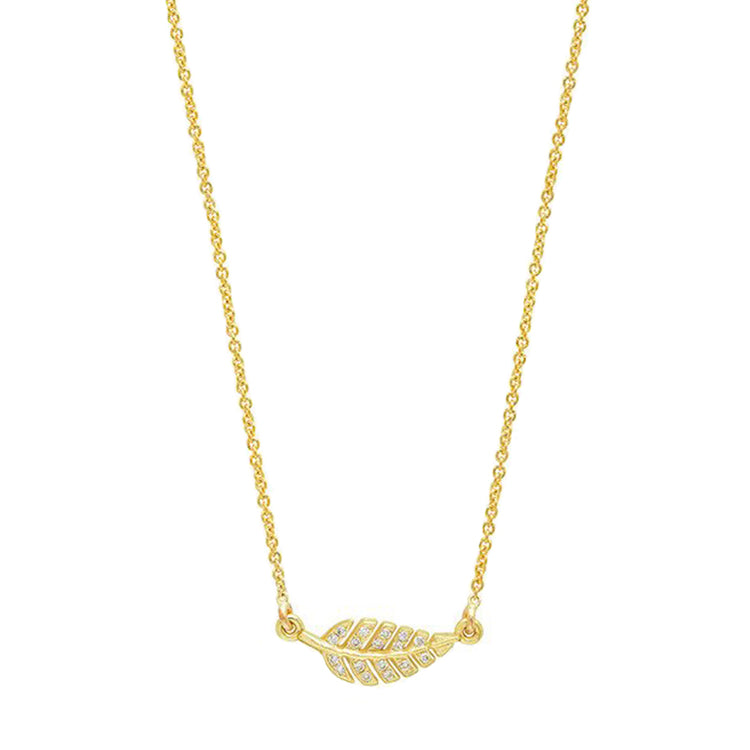 Mini Diamond Leaf Necklace