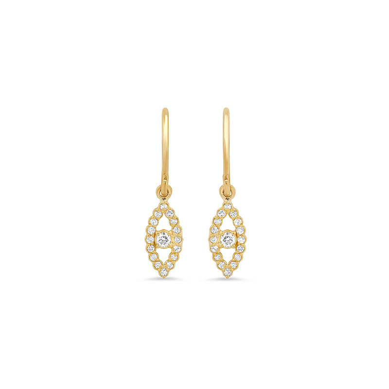 Diamond Mini Open Evil Eye Drop Earrings