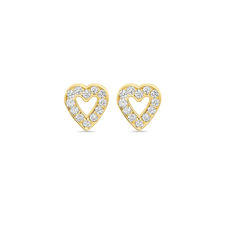 Diamond Mini Open Heart Studs