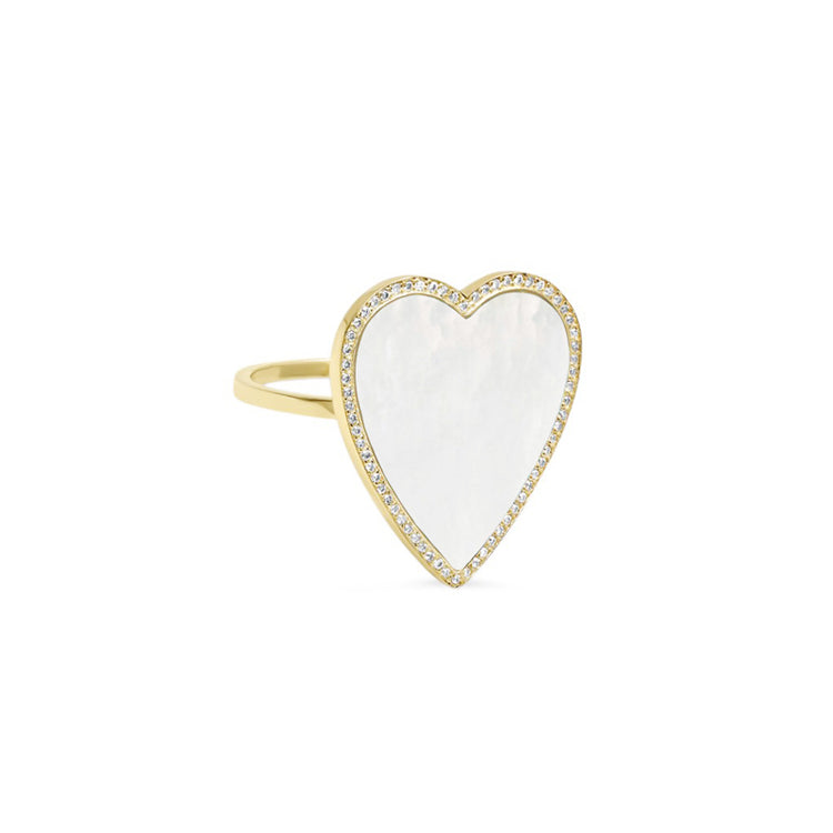 Mother of Pearl Inlay Heart Ring with Diamonds