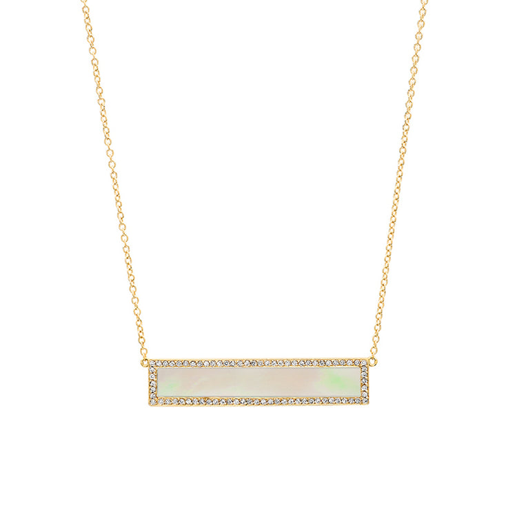 Mother of Pearl Inlay Bar Necklace with Diamonds
