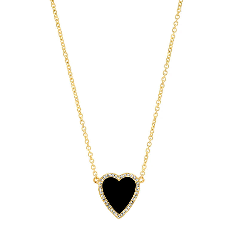 Mini Onyx Inlay Heart Necklace with Diamonds