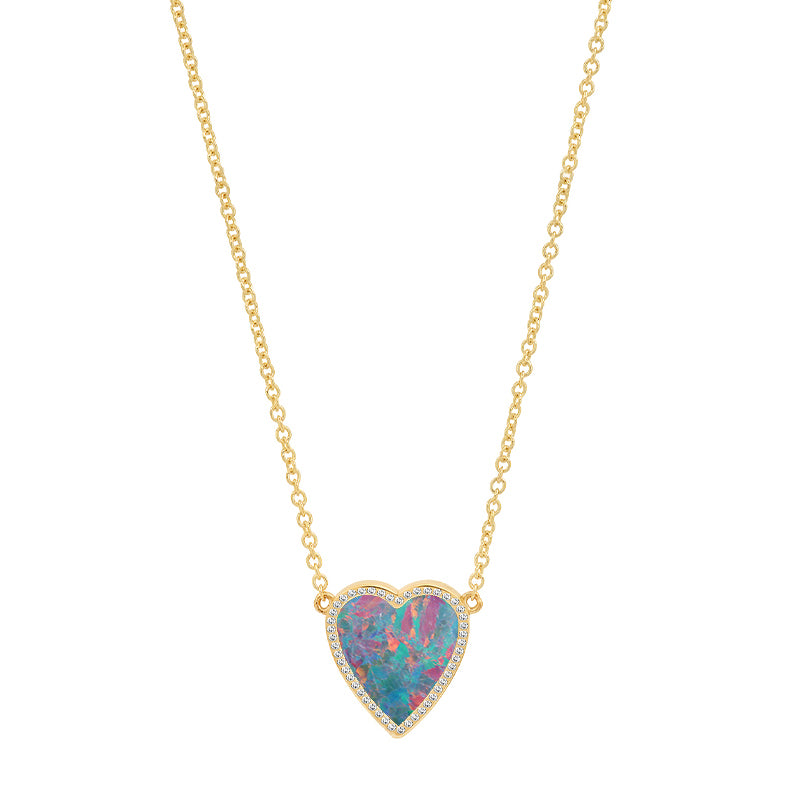 Mini Red Boulder Opal Inlay Heart Necklace with Diamonds
