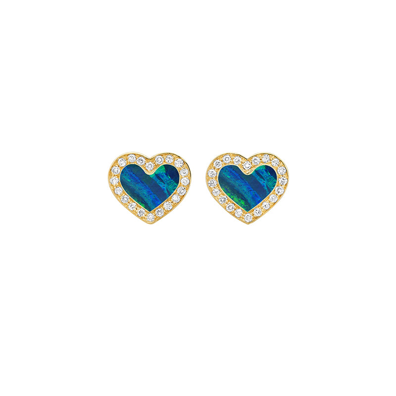 Opal Inlay Heart Studs with Diamonds