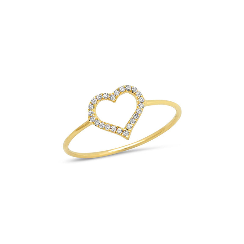 Small Diamond Open Heart Ring