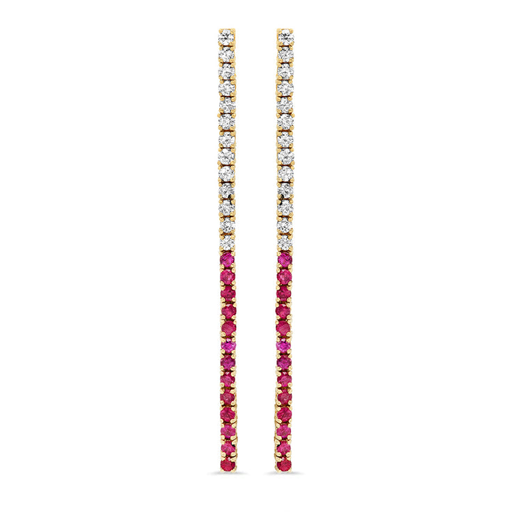 4 Prong Diamond Ruby Tennis Studs