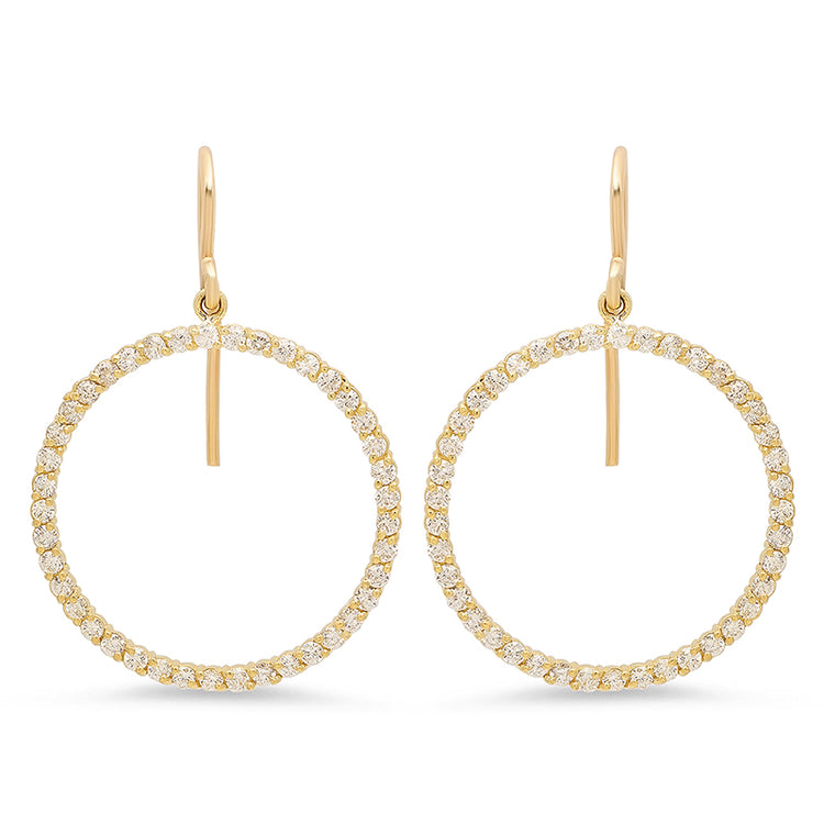 Diamond Open Circle Drop Earrings