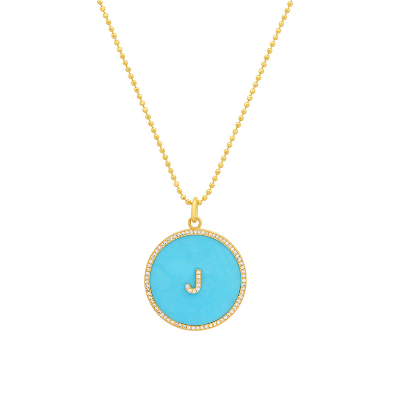 Turquoise Inlay Circle Pendant with Diamond Letter Detail