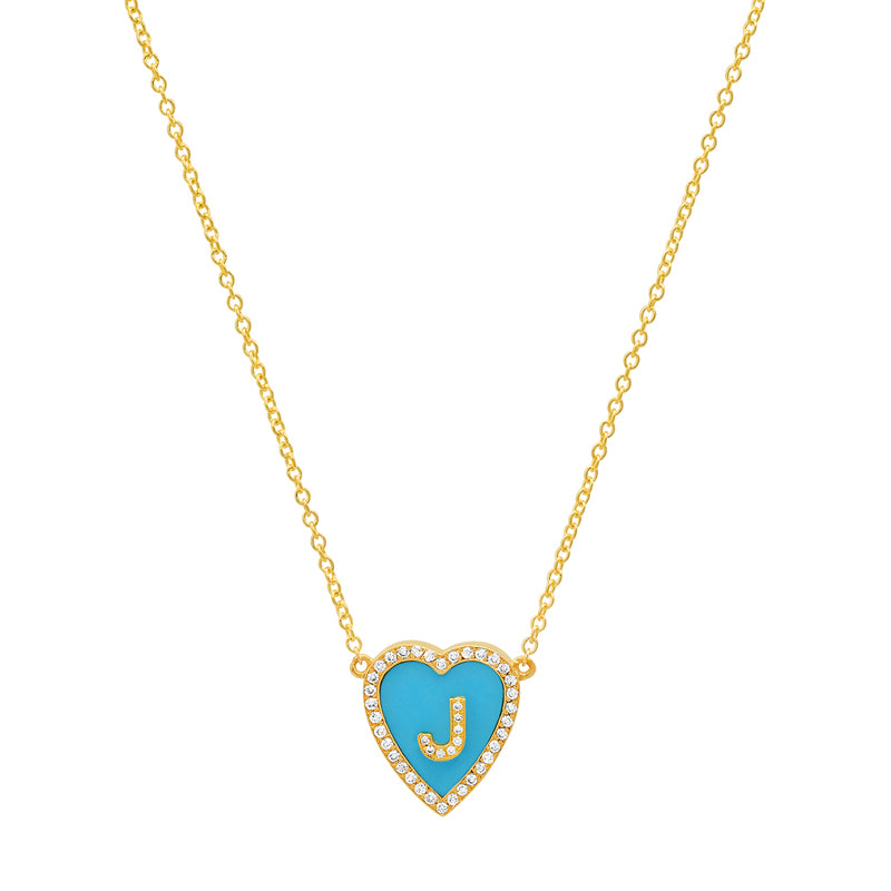 Mini Turquoise Inlay Heart Necklace with Diamond Letter Detail