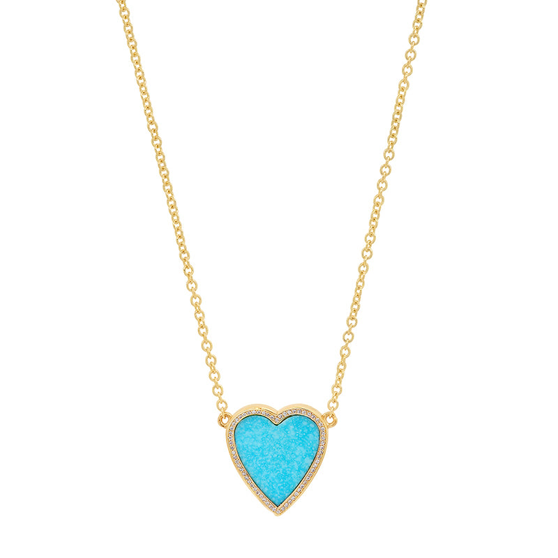 Mini Turquoise Inlay Heart Necklace with Diamonds