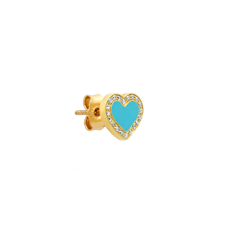 Extra Small Turquoise Inlay Heart Studs with Diamond