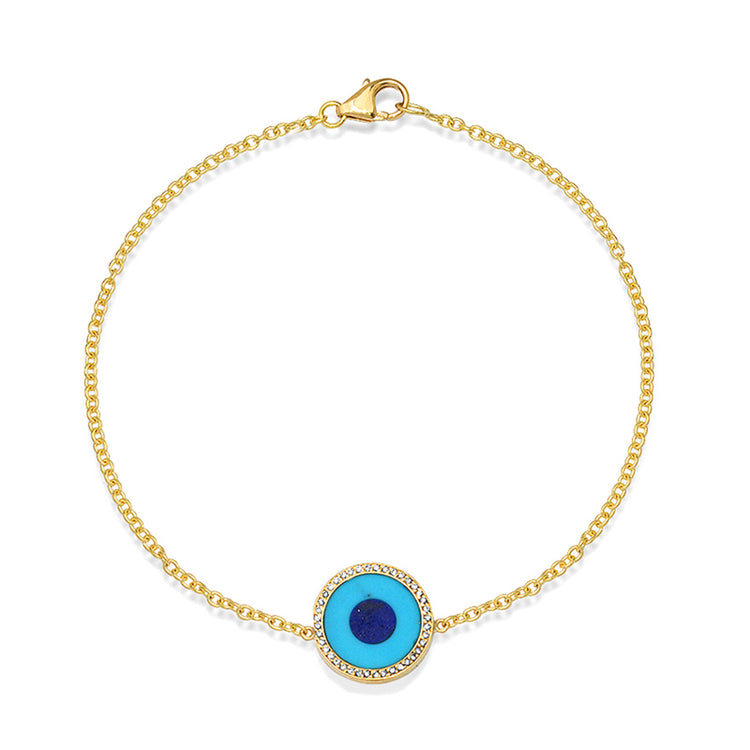 Mini Turquoise Inlay Evil Eye Bracelet with Diamonds