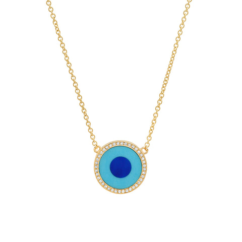 Mini Turquoise Inlay Evil Eye Necklace with Diamonds