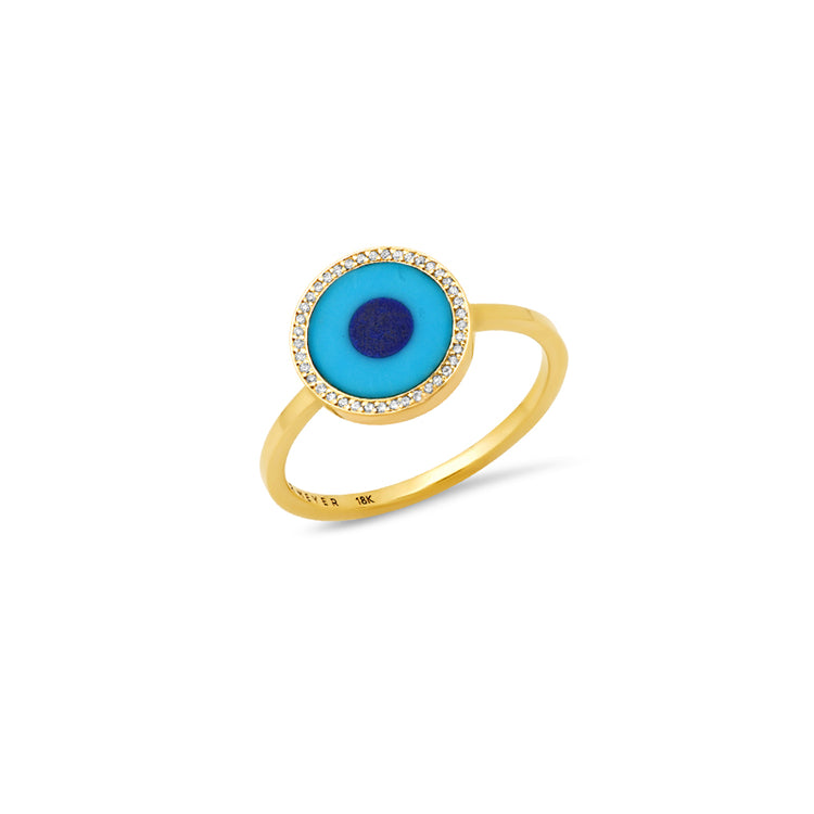 Mini Turquoise Inlay Evil Eye Ring with Diamonds