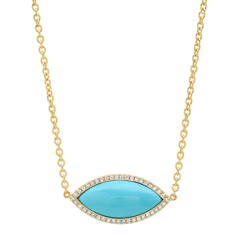 Large Turquoise Marquise Necklace with Diamonds