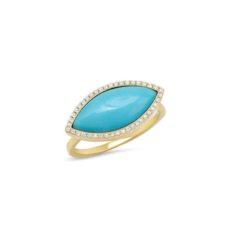 Large Turquoise Marquise Ring with Diamonds